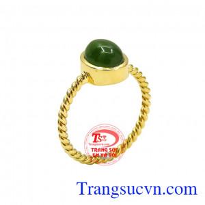 Nhẫn nữ vàng nephrite bình an