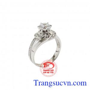 Nhẫn vàng trắng quý cô thanh lịch