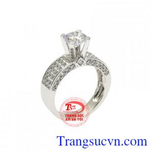 Nhẫn vàng trắng quý cô thanh tú