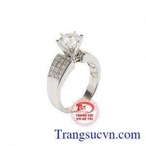 Nhẫn vàng trắng quý cô trang nhã