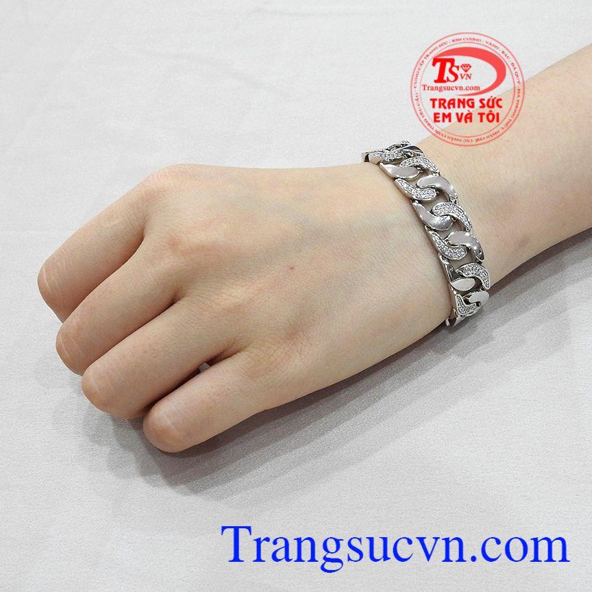 Lắc tay nam vàng trắng phong cách được bảo hành uy tín, giao hàng toàn quốc.