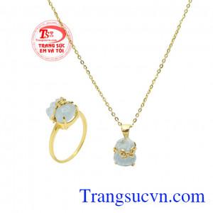 Bộ túi tiền aquamarine tài lộc