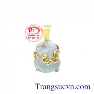 Mặt dây túi tiền aquamarine tài lộc