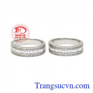 Nhẫn cưới hạnh phúc vàng trắng