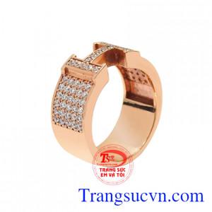 Nhẫn nam chữ H vàng hồng