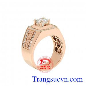 Nhẫn nam kim cương vàng hồng