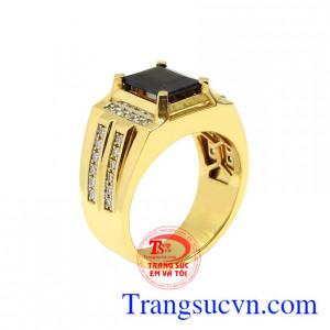 Nhẫn nam vàng tây Sapphire sang trọng