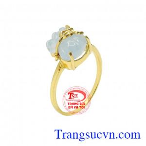 Nhẫn túi tiền aquamarine tài lộc