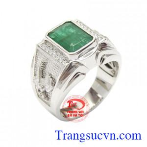 Nhẫn nam Emerald may mắn