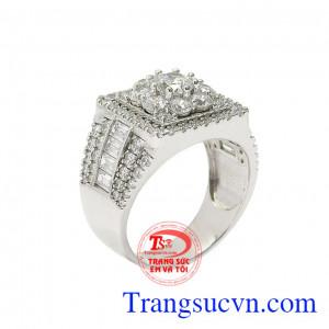 Nhẫn vàng trắng phái mạnh ấn tượng