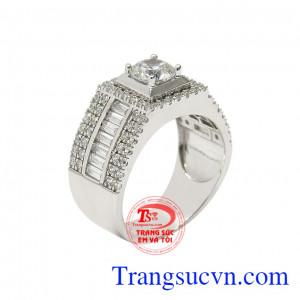 Nhẫn vàng trắng phái mạnh lịch lãm