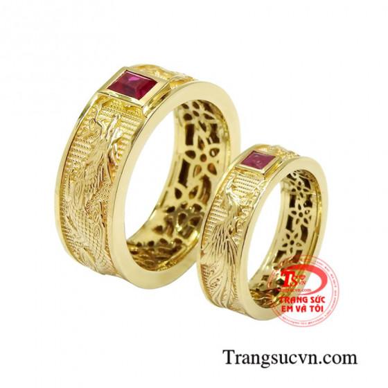 Nhẫn cưới ruby rồng phượng