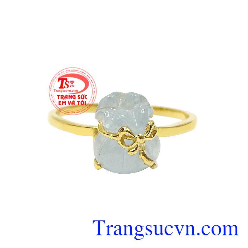Nhẫn túi tiền aquamarine tài lộc, Nhẫn Nữ Đá Quý, Nhẫn nữ vàng tây
