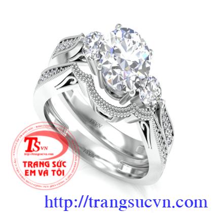 Đôi nhẫn cưới đính kim cương thiên nhiên