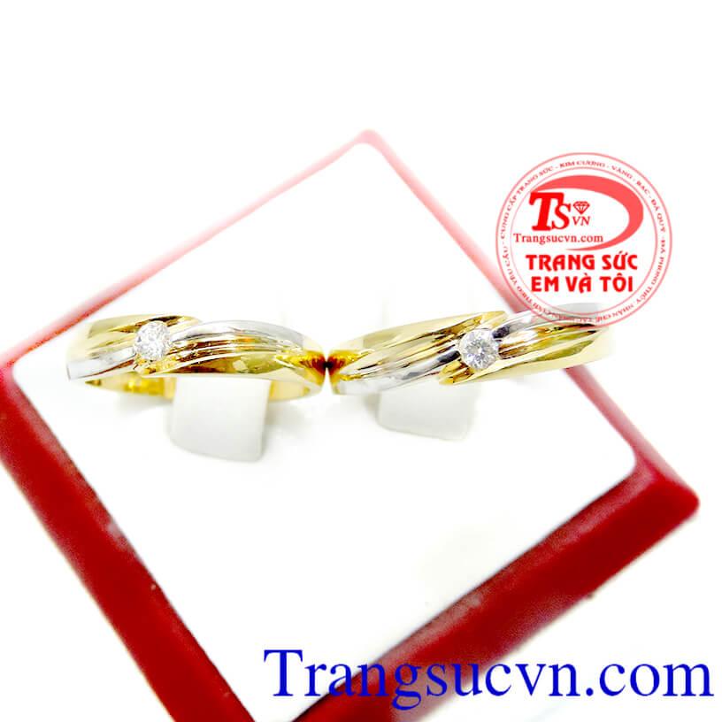 Nhẫn cưới vàng 18k kim cương