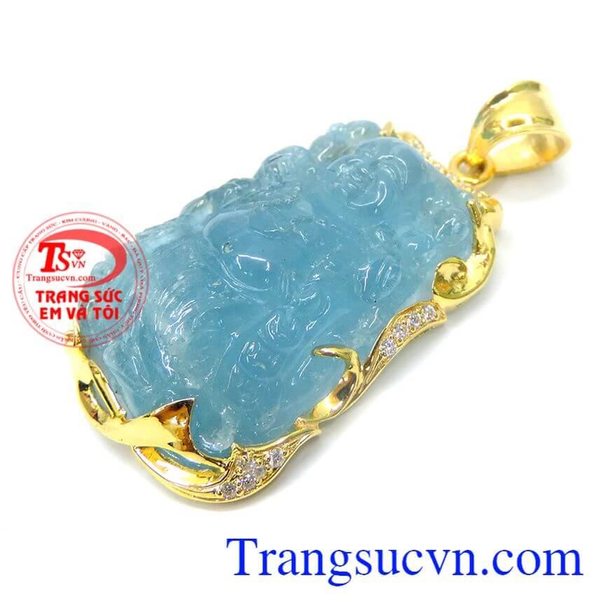 Mặt phật aquamarine bọc vàng 14k
