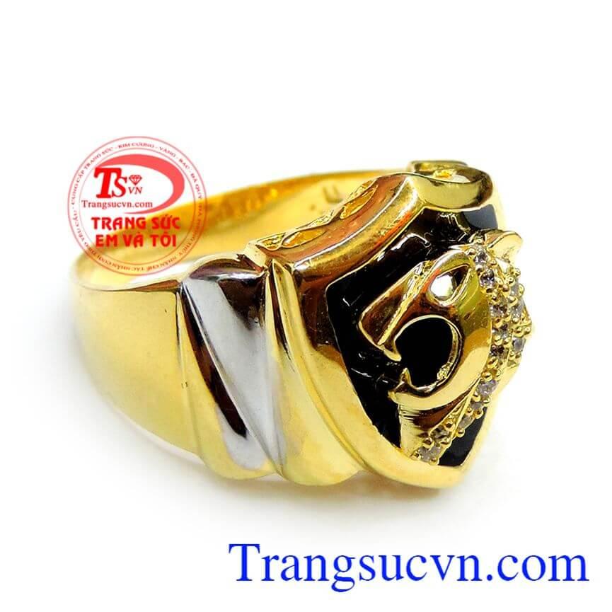 Nhẫn vàng mặt hổ nam tính