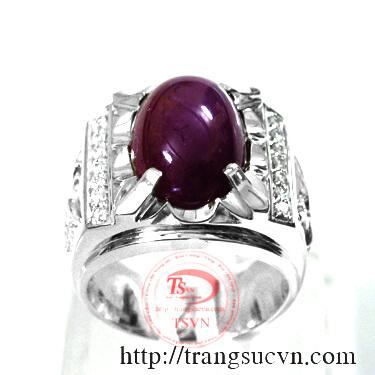 Nhẫn bạc cao cấp gắn đá ruby hộ mệnh