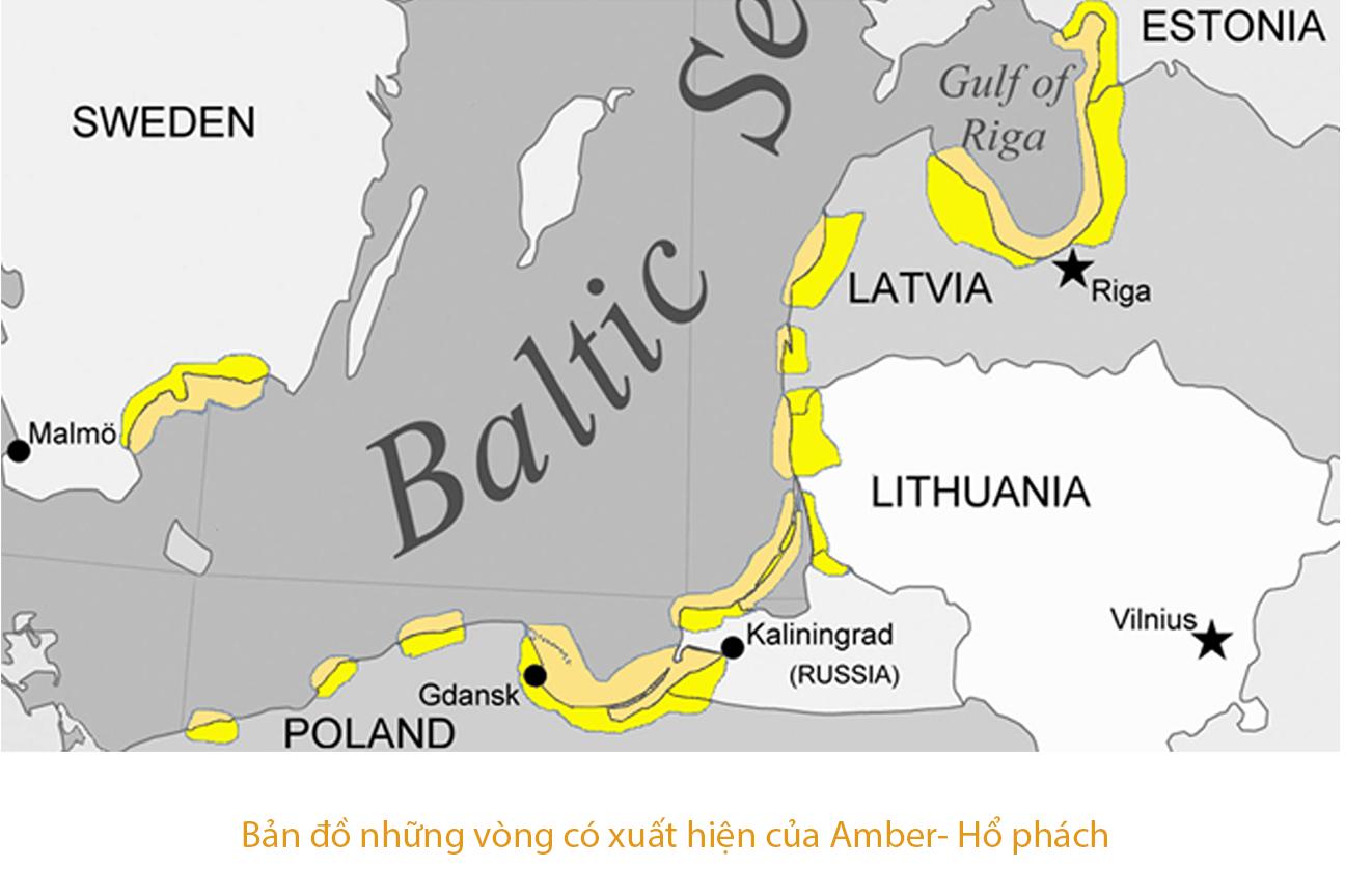 baltic amber nga, Bản đồ nước ga các vùng có Amber