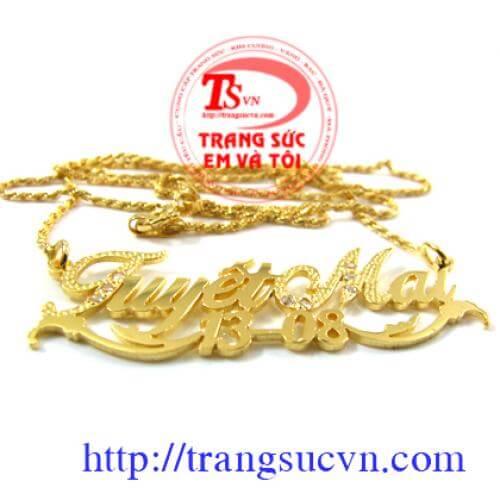 Đặt mặt dây chuyền chữ vàng tây, đặt mặt dây chữ vàng trắng, đặt mặt chữ vàng 10k,14k,18k theo yêu cầu