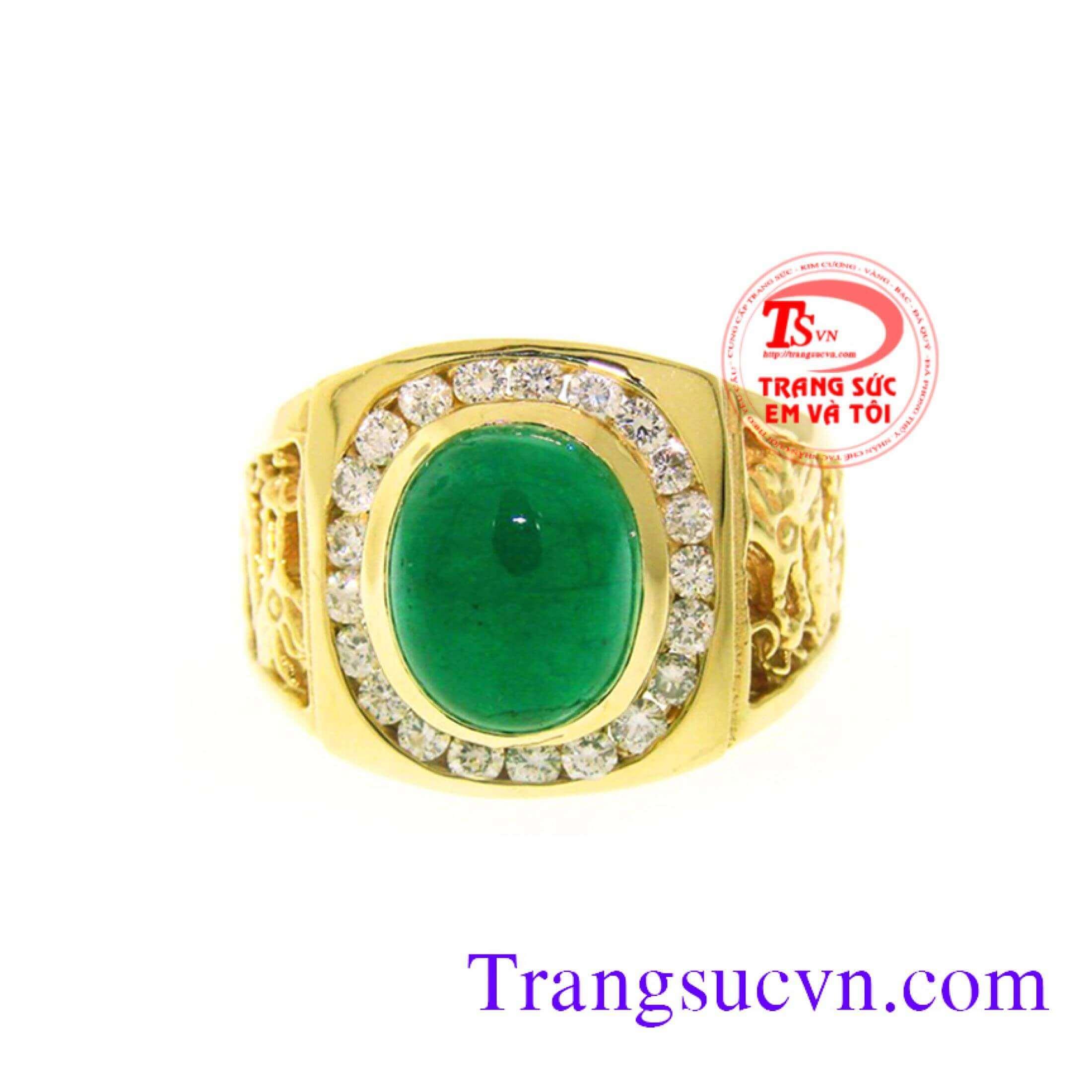 nhan-nam-dep-emerald ,nhẫn gắn đá quý thiên nhiên sang trọng quý phái