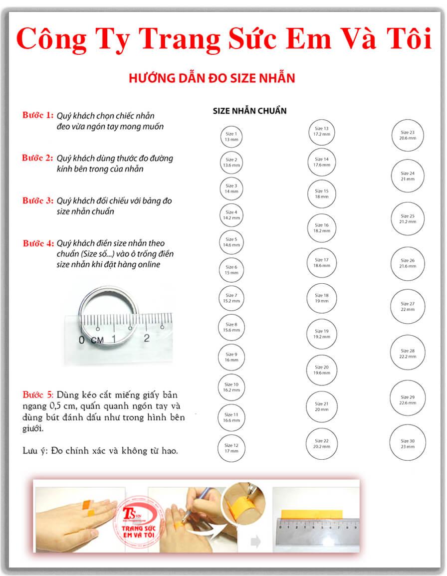 Bạn lấy kéo, cắt tờ giấy bản ngang 5mm và quấn quanh ngón tay lấy bút đánh dấu chỗ tiếp giáp nhau, dùng kéo cắt lấy phần đánh dấu được, sau đó dùng thước đo chiều dài mẫu giấy (Ví dụ bạn đo được 5,5cm) và báo lại cho nhân viên CSKH chiều dài bạn đo được, cách này cũng rất chính xác.