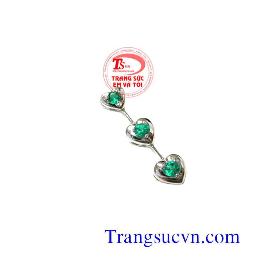 Mặt dây emerald 3 viên, mat day emerald 3 vien