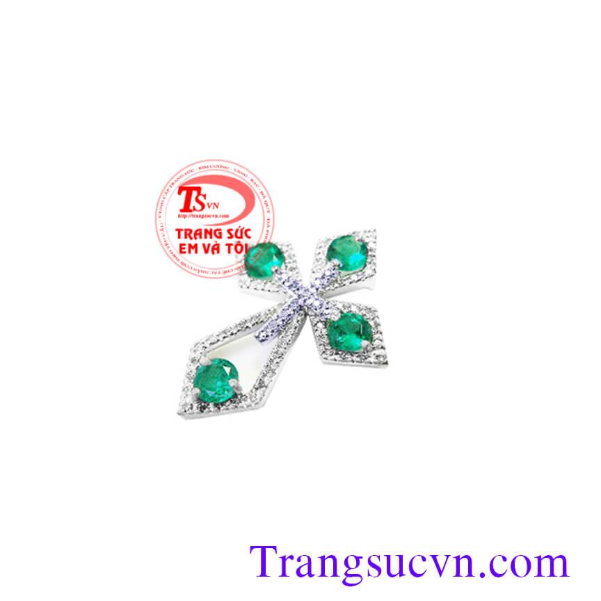 Mặt Thánh Giá gắn đá Emerald, mat thanh gia gan da emerald