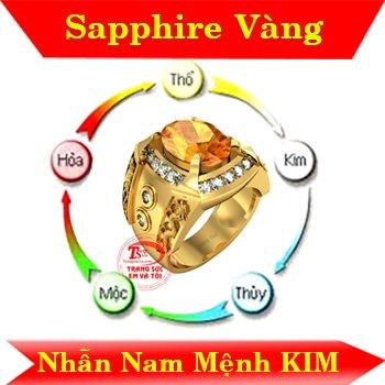 Nhẫn nam đá sapphire vàng