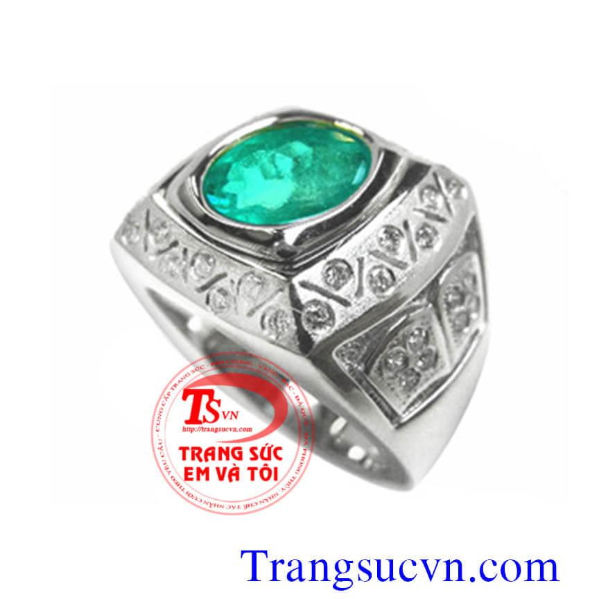 Nhẫn nam gắn đá quý Emerald xanh mệnh hỏa