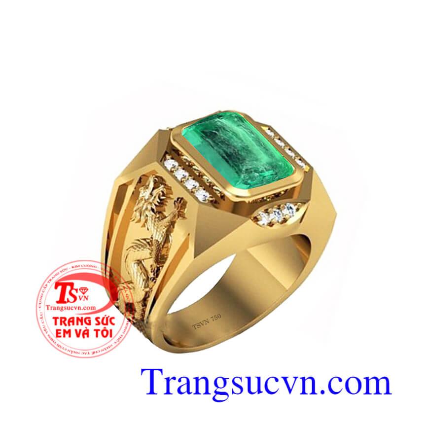 Nhẫn rồng Emerald vàng 18k, nhẫn nam đẹp, nhẫn nam Emerald, nhẫn nam đẹp