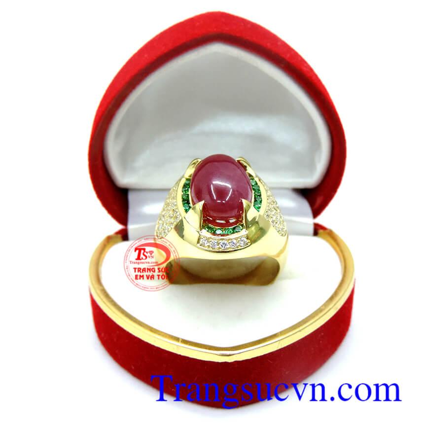 Nhẫn Ruby tự nhiên 100% vàng 18k, nhan nam ruby, nhan nam dep