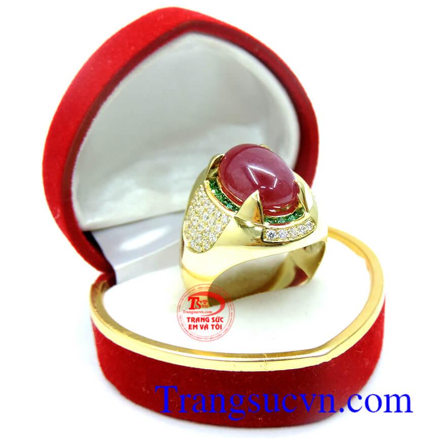Nhẫn Ruby tự nhiên 100% vàng 18k, nhẫn nam vàng tây 18k sang trọng